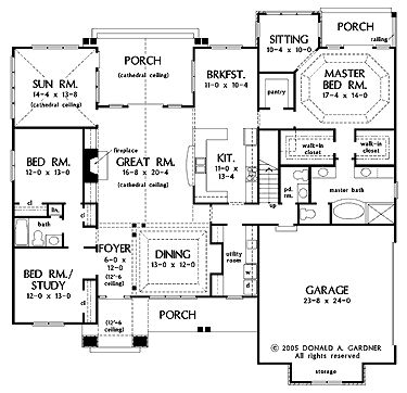 House plans craftsman and porches on pinterest for Master bedroom with sitting area floor plan