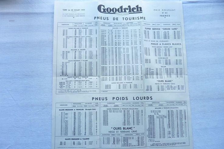 GOODRICH Dépliant Tarif de Pneus et Chambres.Tableau de Gonflage 1935 Réf 04 in Collections, Objets publicitaires, Publicités papier, Autos, tracteurs | eBay