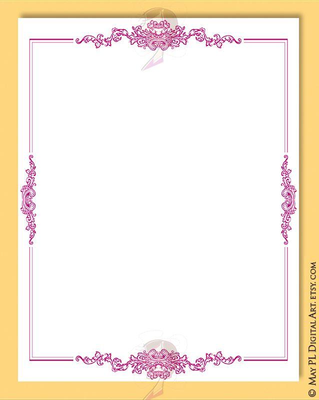 Pink Invitation Border Clipart - 8x11 Fuschia Page Borders Frame ...