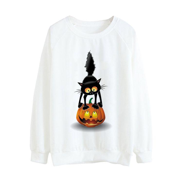 Nowość kobiety o-neck swetry trzy czarne koty druku halloween styl wzór jesień cienki hoody swetry bluzy waibo bear