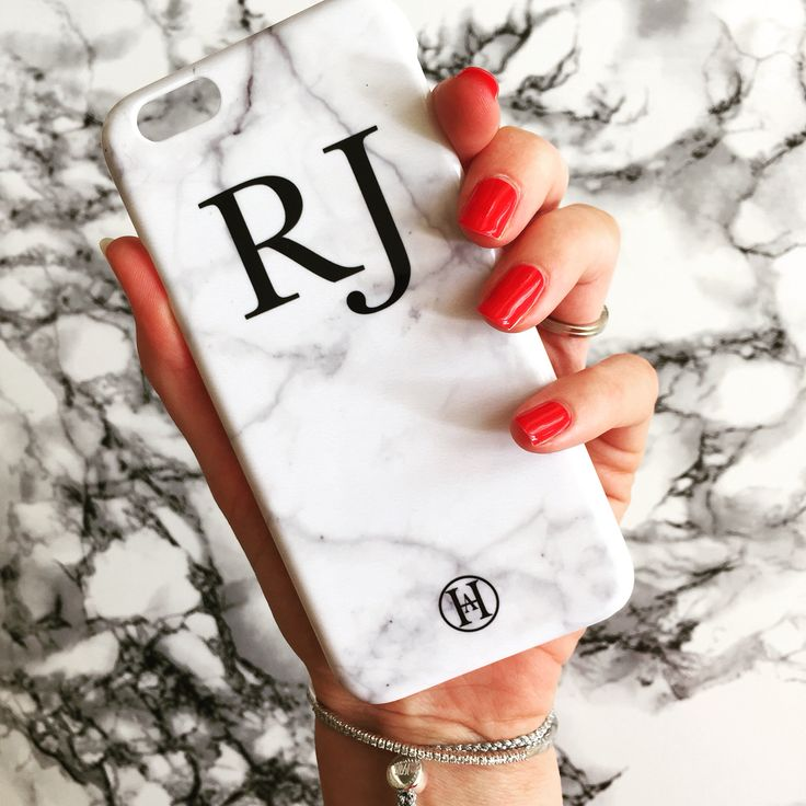 Personalised Monogram Marble Phone Case ✔️