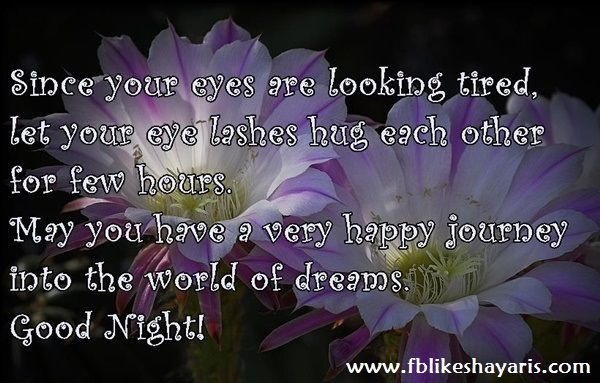 Since your eyes are looking tired - Good Night Quotes   Since your eyes are looking tired - Good Night Quotes  Since your eyes are looking tired  let your eye lashes hug each other for few hours may you have a very happy journey  into the world of dreams.  Good Night!  Cards Good Night Cards Good Night Quotes Good Night Wishes Good Night Wishes for Facebook Good Night Wishes for WhatsApp Picture SMS messages for facebook Quotes WhatsApp Picture SMS Wishes