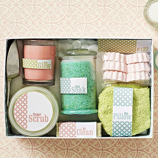 Spa in a Box -  Hand scrub how-to: Mix melted coconut oil, granulated sugar, and almond extract with a bit of food coloring, then fill a jar with your homemade scrub.