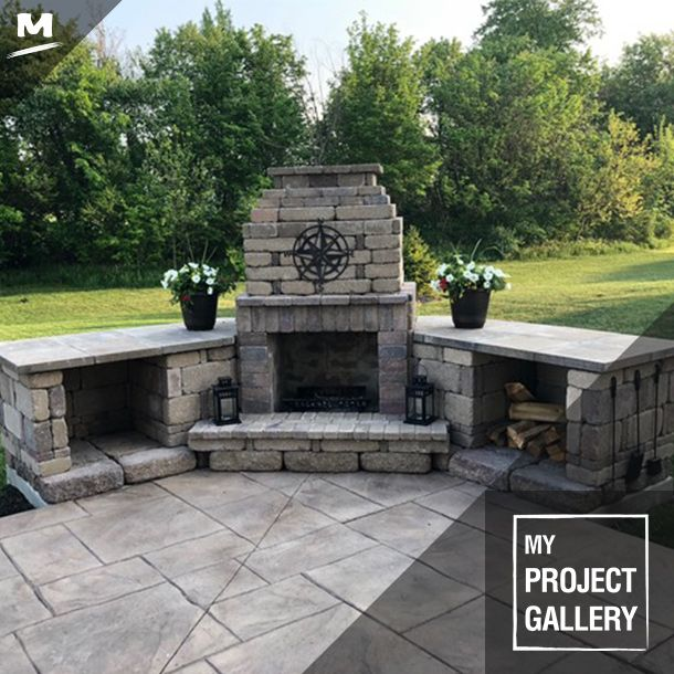 This Outdoor Fireplace Was Created Based Off Of The Menards Rhode Island Fireplace Kit With Some Tweaks And A Outdoor Fireplace Patio Projects Fireplace Kits