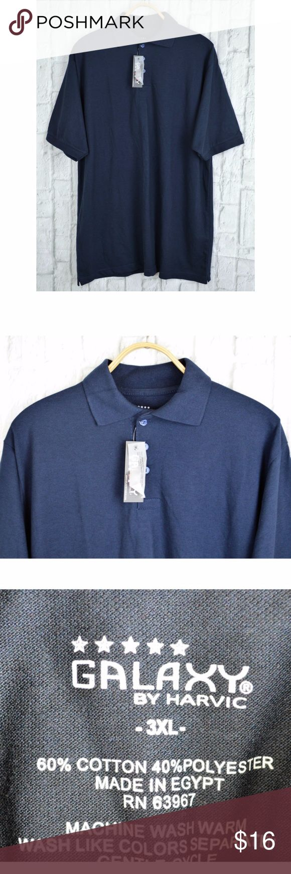 """Pique Sport Polo Golf Shirt Men's Collar 3-Button New with tags Galaxy by Harvic Men's Cotton Blend Collar 3-Button Pique Sport Polo Golf Short T-Shirt Top  Sleeve Shirt Navy 3XL  Measurements: Armpit to armpit 25"""" Shoulder 20"""" Hem 25"""" Length 33"""" Side Vent 1""""  Material: 60% cotton, 40% polyester  Ribbed polo collar with three-button placket Semi-fitted design Ribbed armbands Ribbed polo collar Short sleeves  MWC05-24 Galaxy by Harvic Shirts Polos"""