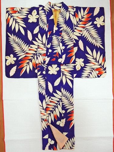 青紫にシダ植物柄(?)のアンティーク着物