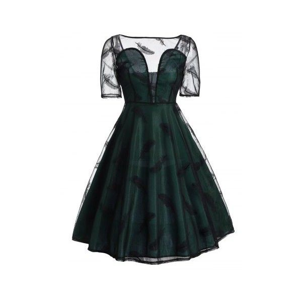 Deep Green 2xl Vintage Feather See Thru Mesh Panel Overlay Dress ($22) ❤ liked on Polyvore featuring dresses, feather cocktail dress, vintage dresses, overlay dress, feather dress and mesh insert dress