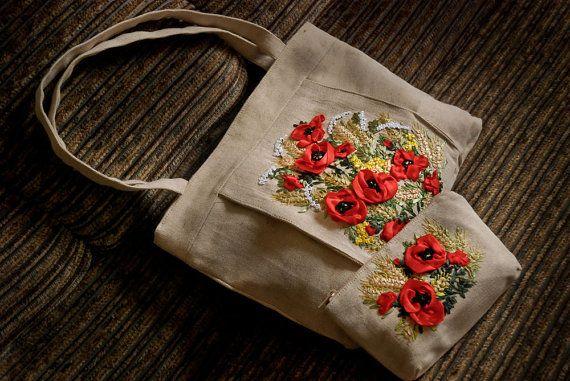 Red Poppy Floral Handbag & Vanity Bag Bundle. Silk Ribbon Embroidery. Embroidered Floral Bag. Cosmetic Bag. Embroidered Floral Handbag. Tote