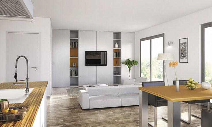 Wohnzimmer mit Einbauschrankwand Sofa Esstisch Bücherregal Holz Parkett Küche Bar Tresen - Haus Generation 5.5 - WeberHaus