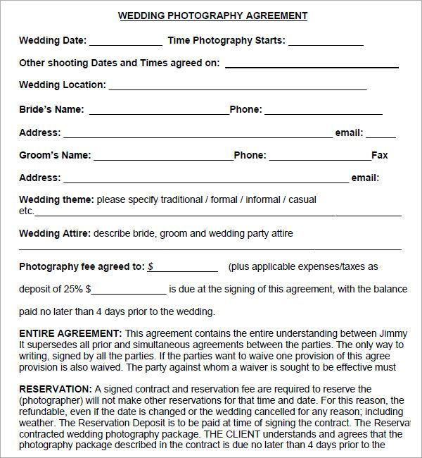 Simple Photography Contract Template   download photography contract example download photography agreement ...