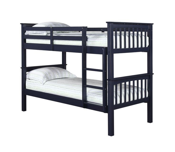 Leo Bunk Bed This sturdy, classic design, 2 tier bunk bed, that can also be split into 2 separate standard single beds, will solve the problem of how to fit 2 snoozers into a room where there's only enough floor space for one. Available in 3 colourways: Antique Wax Pine; Solid Navy Blue; Solid off White Overall dimensions when assembled: L2040mm x W1010mm x H1502mm