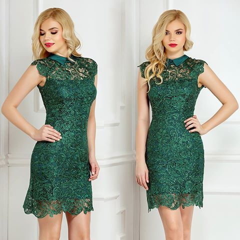 Short evening lace dress with sequins and satin collar: https://missgrey.org/en/dresses/short-lace-dress-with-sequins-embroidery-green-nancy/514?utm_campaign=aprilie&utm_medium=nancy_verde&utm_source=pinterest_produs