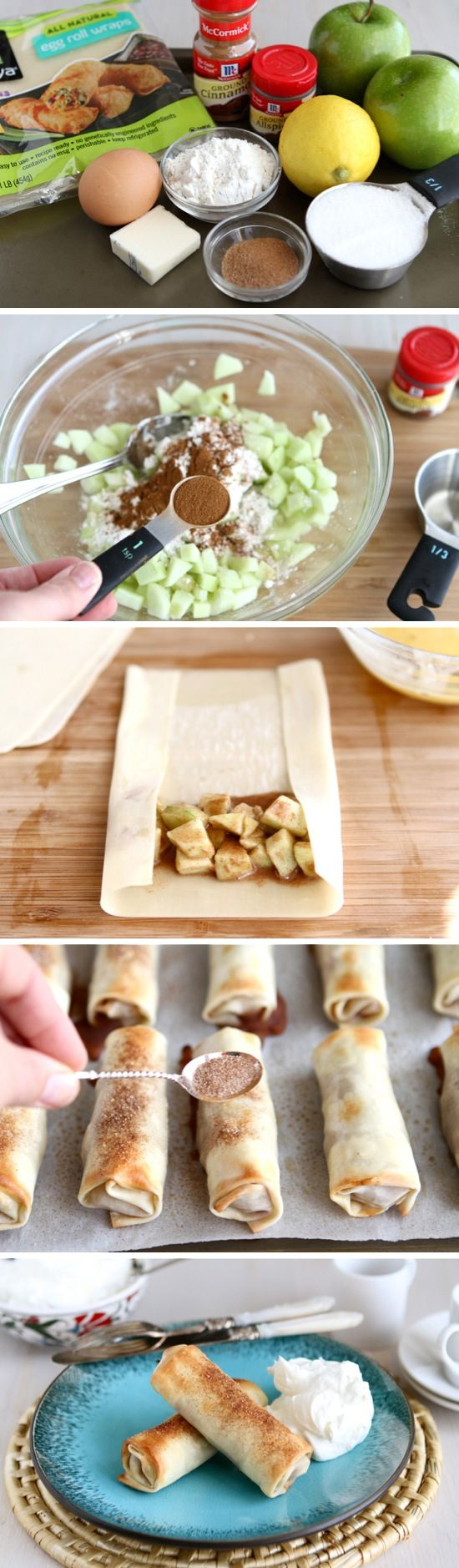 Apple Pie Egg Rolls   Recipe By Photo 2 whole Apples, Peeled, Cored And Diced (I Used Granny Smiths) 1 whole Lemon, Juiced ⅓ cups Sugar 4 Tablespoons Flour 2 teaspoons Cinnamon ¼ teaspoons Allspice ⅛ teaspoons Salt 1 whole Egg Beaten 10  To 12 Egg Roll Wrappers 1 Tablespoon Butter, Melted 2 teaspoons Cinnamon Sugar, For Dusting