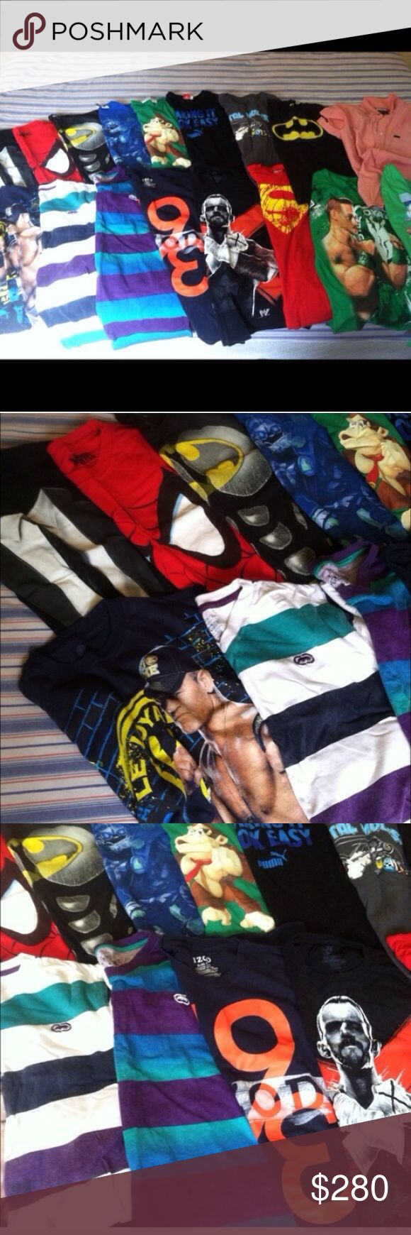 17 DESIGNER Tops💛💙💜💚❤️💛💙💜💚❤️💛💙💜💚❤️💛💙 17 tops. 2 WWE tops alone was over $100. Boys XL X-Large 18/20 WWE RVCA Puma ECKO Spider-Man Batman Skylanders Donkey Kong John Cena LRG Marvel Izod CM Punk Metal Mulisha graphic tees Colorful Like new Red RVCA shirt next to Batman top is a button down Collection rare hard to find vintage colorful casual dressy Various brands cool tuxedo suit shirt wrestling stripe character suit dress surfer skater Pokemon star wars jersey uniform Puma…
