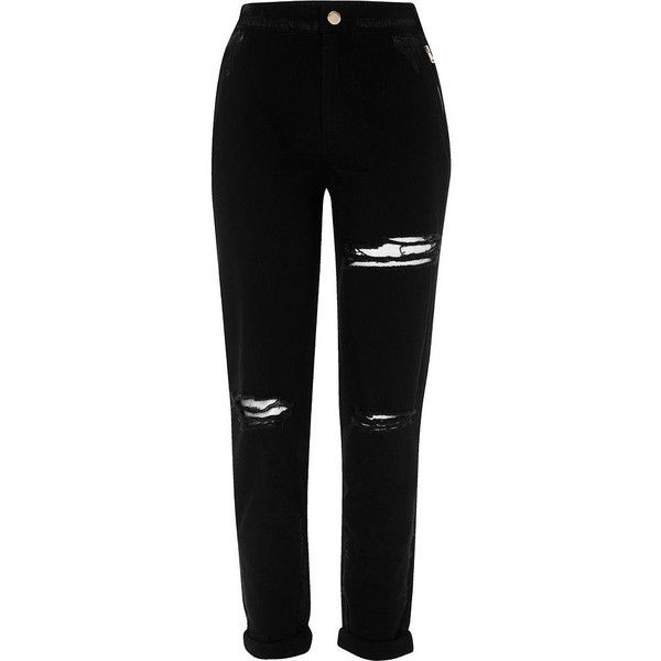 River Island Black ripped tapered pants (€29) ❤ liked on Polyvore featuring pants, bottoms, black, sale, women, distressed pants, torn pants, zipper pants, tapered leg pants and river island