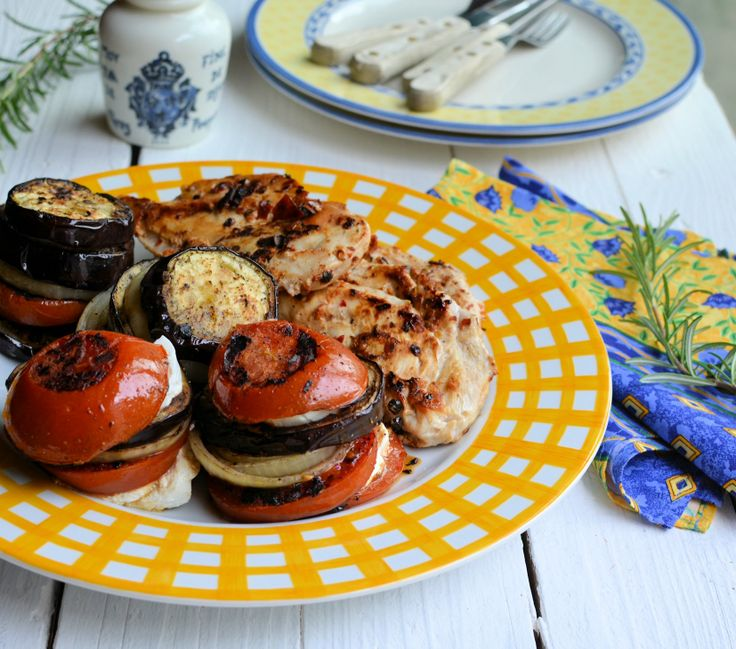 Chilli Peppered Chicken Steaks & Mediterranean Goat's Cheese Vegetable Stacks = 210 calories per person!