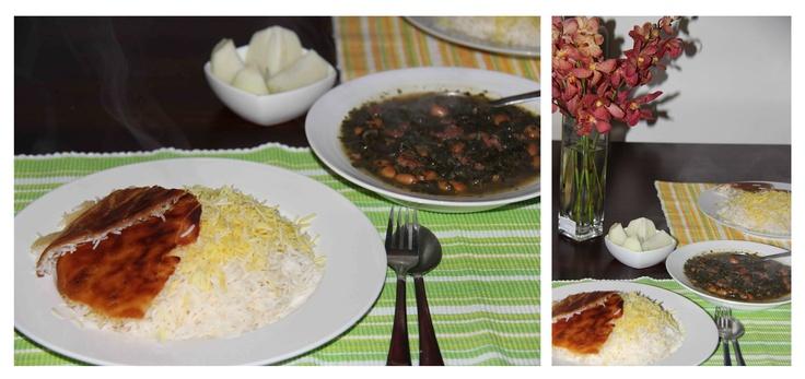 Persian Stew -Ghormehsabzi- with Safran rice
