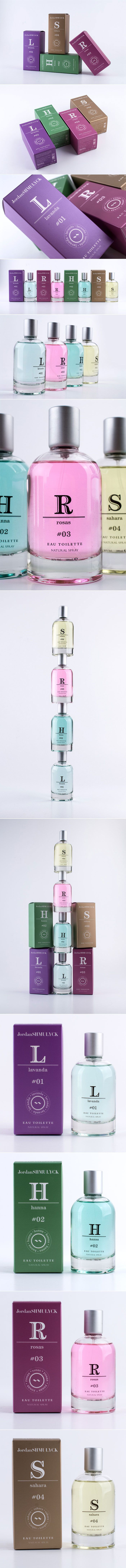Perfume packaging design ideas. I love the typography on the logo and boxes. Print packaging design.