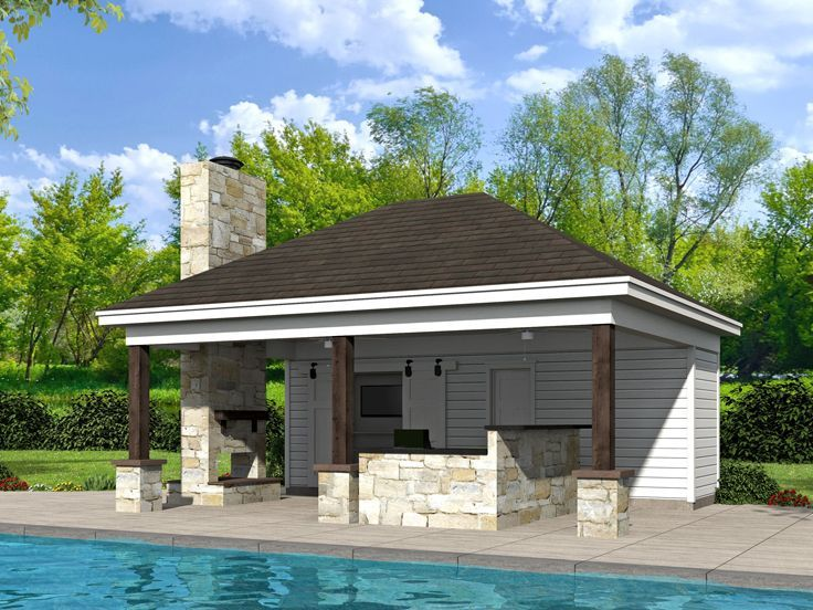 51 best pool house plans images on pinterest houses with for Pool house plans with garage