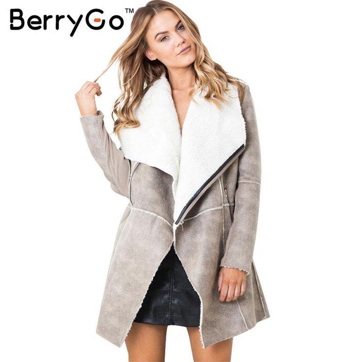 BerryGo Suede lambswool coat women 2016 Autumn winter warm zipper long coat Elegant wide waisted overcoat cashmere