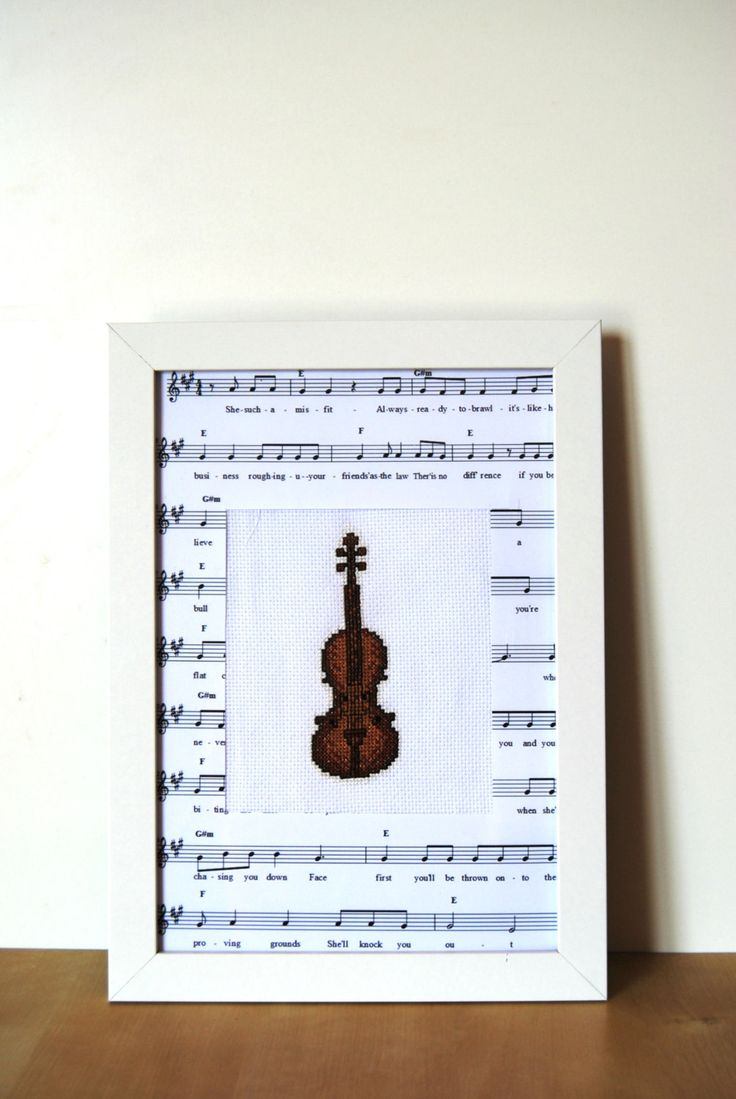 Violin Art, Violin instrument, Violin counted cross stitch, violin plate, embroidered violin art by Lemiecreazionidarte on Etsy