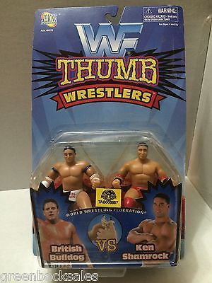 (TAS006857) - WWE WWF Wrestling Jakks Thumb Wrestlers - Bulldog & Ken Shamrock