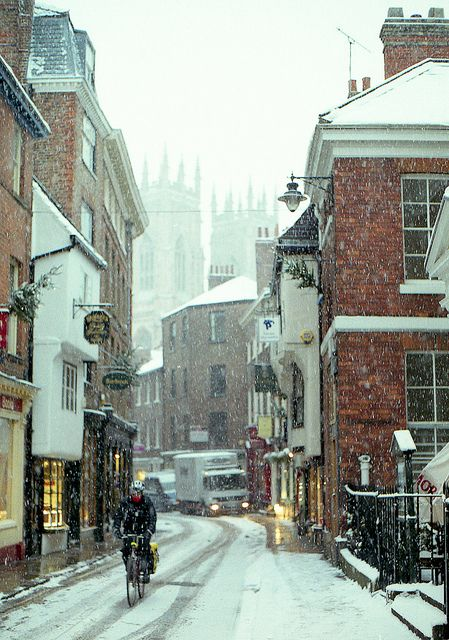 Winter in York, England.  York Minster in the background.