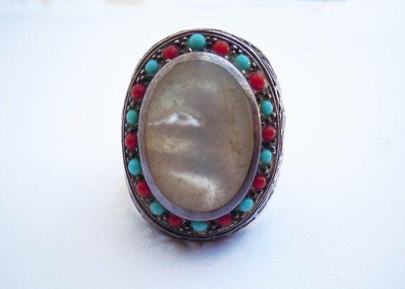 Anello molto grande vintage argento, madreperla, little turquoise stones and corals