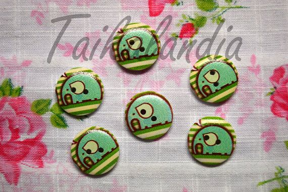 Painted Wood buttons 20mm Printed Wood by TaikalandiaSupplies