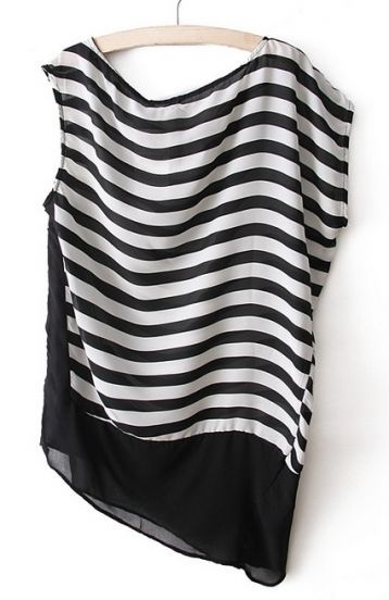 Black White Striped Sleeveless Asymmetrical Blouse - Sheinside.com
