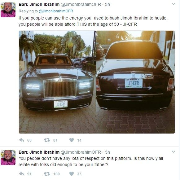 Jimoh Ibrahim Shows Off His Rolls Royce Slams Nigerian Youth Bashing Him For Calling GEJ An Armed Robber With PHD