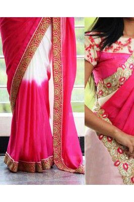 White and Pink Bordered Georgette Saree #georgettesarees #womensfashion #pinksareeonline #onlinedesignersarees #ethnicsarees #partywearsaree Shop here-  https://trendybharat.com/women/ethnics-wear/sarees/white-and-pink-bordered-georgette-saree-kfa-3104