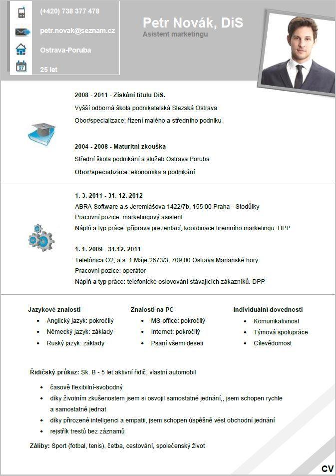 Pro-CV 6. vzor muž. Více informací zde http://www.pro-cv.cz/produkt/pro-cv-6-vzor-muz/