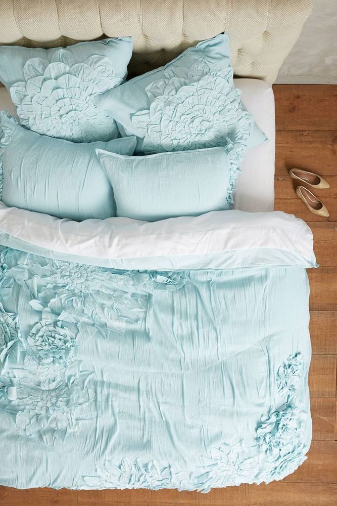 ANTHROPOLOGIE Georgina KING Duvet Cover + 4 Shams Mint Bedding FREE SHIPPING NEW #Anthropologie #Georgina