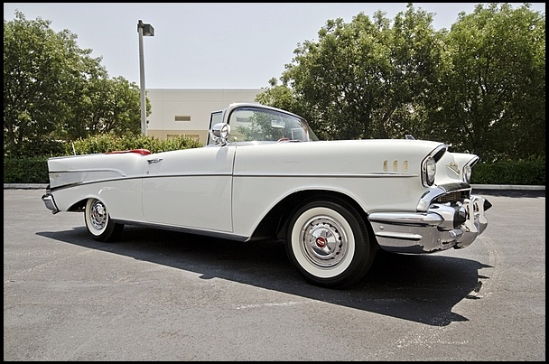 Luxury and performance in 1957. S43 1957 Chevrolet Bel Air Convertible 283/220 HP, Continental Kit