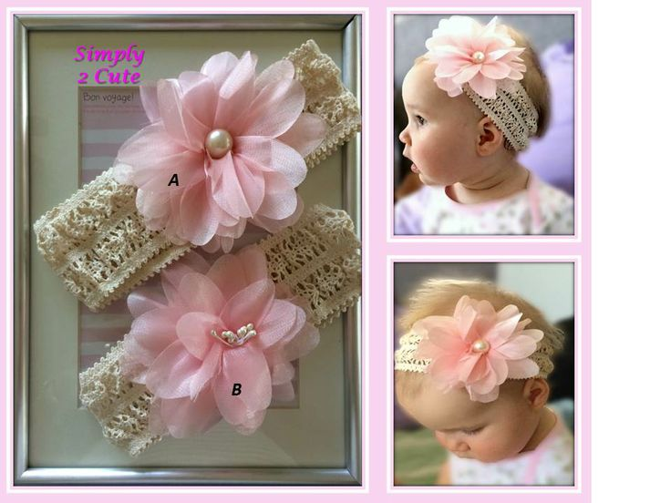 'VERA' - Lace headband with pink flower. Available in 2 styles. Fits 6 months - 8 years (stretchy elastic). Purchase at:http://simply2cute.tictail.com/product/vera