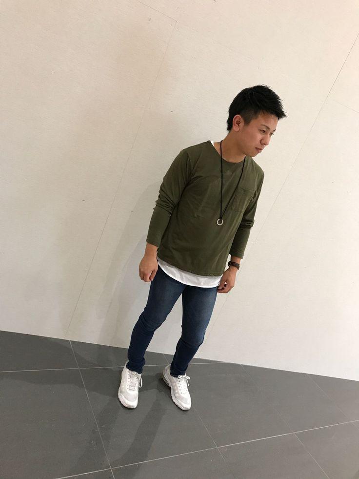 秋色 レイヤードPO ロング丈のタンクトップ・長袖のポケット付きカットソー・リングネックレスの三点セットです☆