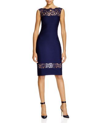Tadashi Shoji Pintucked Jersey Lace Inset Dress | Bloomingdale's