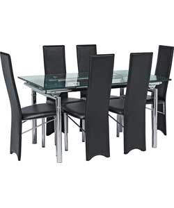 Hygena Savannah Clear Glass Dining Table and 6 Black Chairs.