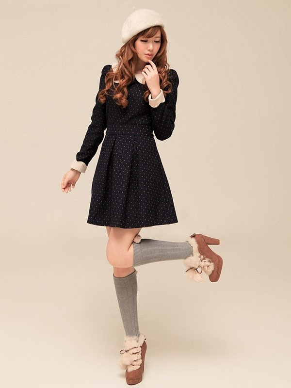Mango Doll - Polka Dot Thick Winter Dress , $66.00 (http://www.mangodoll.com/all-items/polka-dot-thick-winter-dress/) @Diane Haan Lohmeyer Z Doll