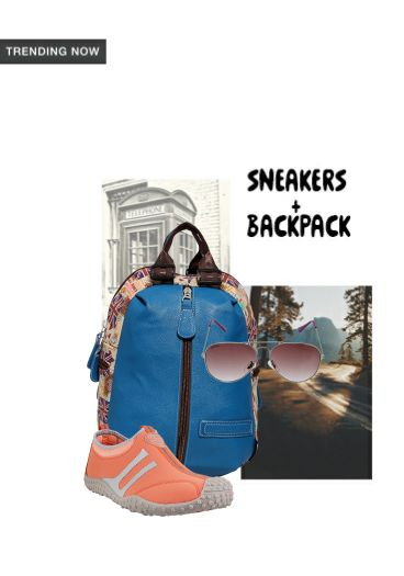'Sneakers+ Backpack' by me on Limeroad featuring Blue Backpacks