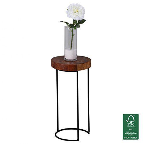 WOHNLING Beistelltisch Massiv Holz Sheesham Wohnzimmer Tisch Metallbeine Landhaus Stil Baumstamm Form