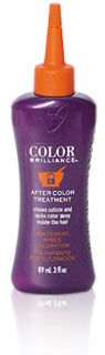 Ion Color Brilliance After Color Treatment.  I use after rinsing out the color.  This product helps stop the oxidation process after coloring.  It's triple action formula helps eliminate traces of remaining oxidizing agents, seals the cuticle layer of the hair strand & helps restore the natural pH of the hair & skin.  Tip: Do not use shampoo after color, wait 48 hours or more before shampooing after color has been applied.  This helps lock in color.