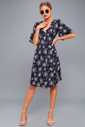 Glimmering Nights Navy Blue Print Shirt Dress 2