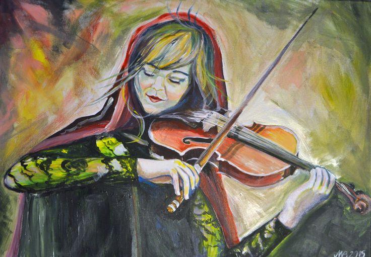 Muzyka we mnie gra.  akryl na płótnie 50/70 cm