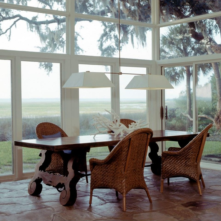 Mid century modern architecture w/ traditional decor; T. Duffy & Associates