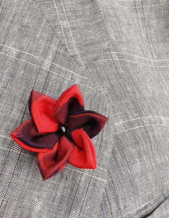 Mens Lapel Pin Flower Lapel Pin Red Black Custom Lapel Pins Men Silk Lapel Flower Lanzashi Pin Silk Boutonniere Red Boutonniere Gifts For