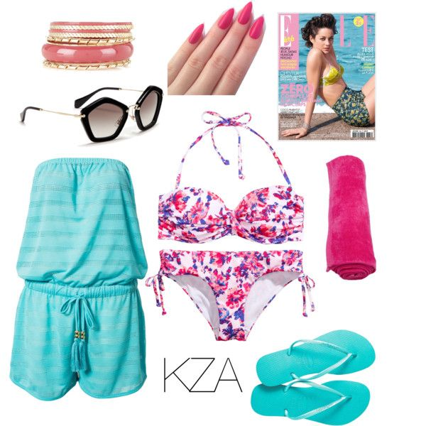 Ready to go to the beach? Floral pink bikini and blue playsuit for summer. Check out my polyvore for more ideas!