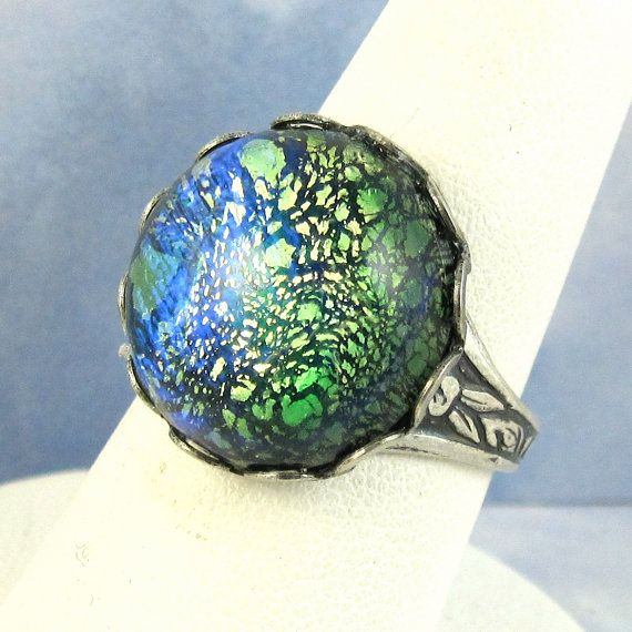 Green Opal Ring Antique Silver Adjustable Vintage Glass Cocktail Ring on Etsy, $19.00