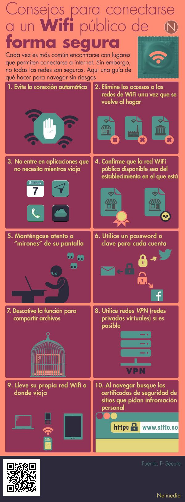 Usa la WiFi pública de forma segura #infografia